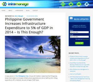 Philippine Government Increases Infrastructure Expenditure to 5  of GDP in 2014 – Inframanage